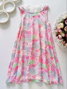 7 лет, рост 122 Платье с фламинго