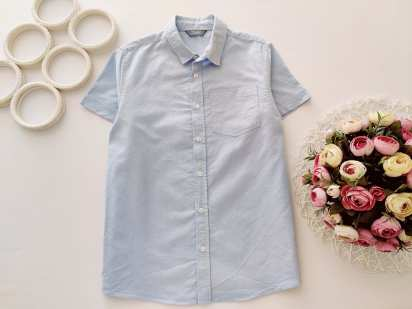 10,11 лет, рост 146 Голубая рубашка