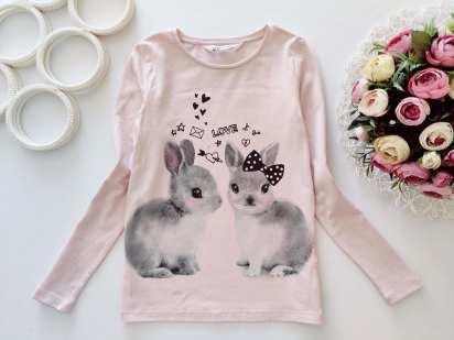 6,8 лет, рост 122,128 Лонгслив с кроликами