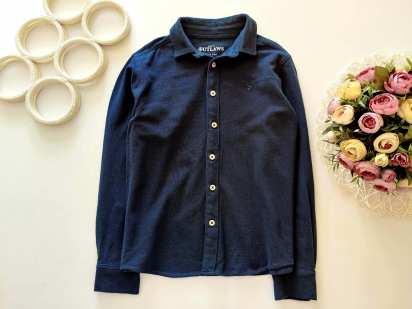 9,10 лет, рост 134,140 Фактурная синяя рубашка