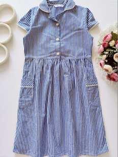 7,8 лет, рост 128 Полосатое школьное платье
