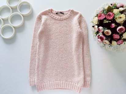 8,9 лет, рост 128,134 Пудровый свитер в пайетках