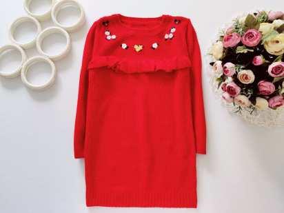 4,5 лет, рост 104,110 Вязаное платье- туника