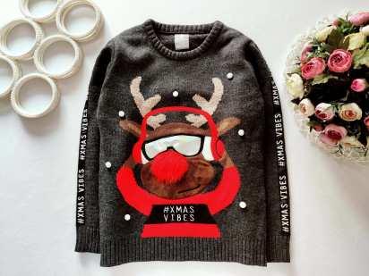9,10 лет, рост 134,140 Детский новогодний свитер с мигалкой