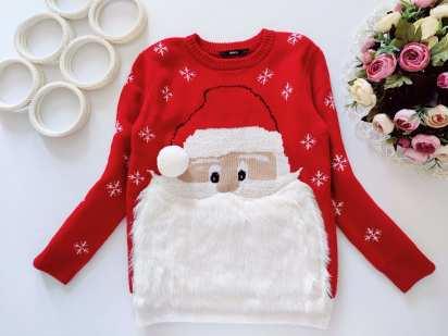 7,8 лет, рост 122,128 Новогодний свитер с дед морозом